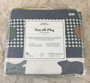 Details About New Vermont Country Store Cats At Play All Cotton Quilt Bedspread Sz Twin