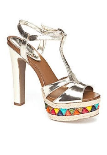$59 Kenneth Cole//UNLISTED Carry On Gold w//Multi-Color Stones Platform Sandal