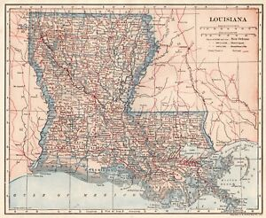 picture about Printable Map of Louisiana referred to as Information and facts around 1925 Antique LOUISIANA Map of Louisiana Place Map Print Gallery Wall Artwork 4341