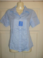 Ladies SKY BLUE short Sleeve semi fitted Blouse Work/office/social Choose Size