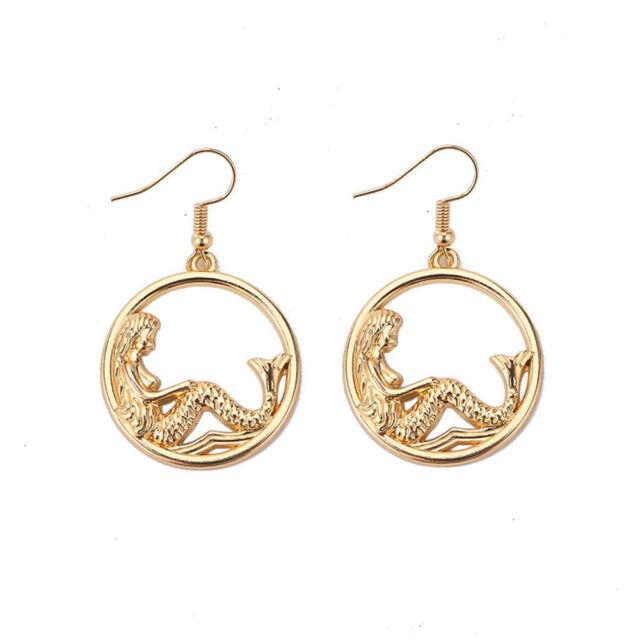 Women's Fashion Mermaid Tail Circle Tassel Drop Dangle Statement Jewelry