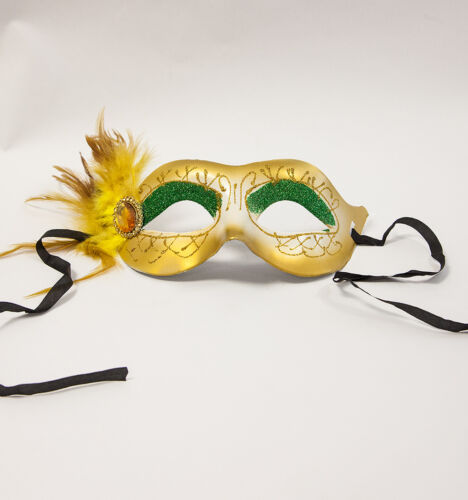 VENETIAN MASQUERADE BALL PARTY MASK GLITTER WITH TIE DESIGN C 4 COLOURS