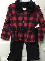 Girls Outfit Toddler 3t Winter Warm Red Black Plaid Top Faux Fur Collar Fleece