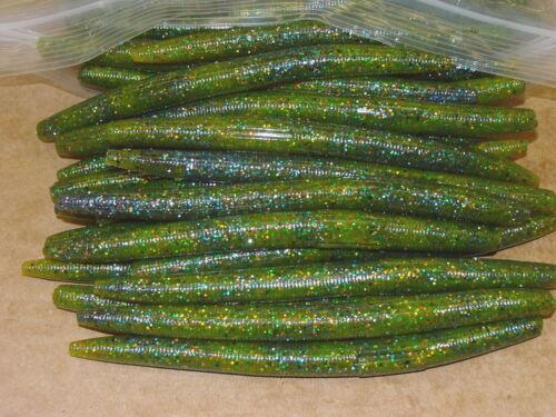 "5/"" Stick Senko Style Sunfish Swirl 100 count bag bulk Bass Plastic Worms"