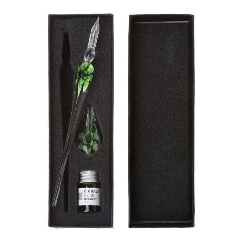 Handmade Art Vintage Elegant Crystal Floral Glass Dip Pen Sign Ink Pens Gift