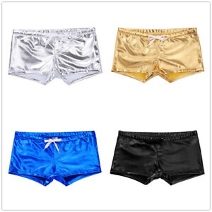 15b30be225 Image is loading Mens-Leather-Gay-Underwear-Thong-Boxer-Briefs-Drawstring-