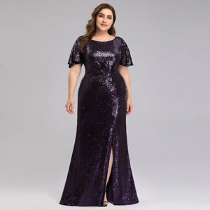 Details about Ever pretty US Short Sleeve Plus Size Formal Gowns Evening Sequins party Dresses