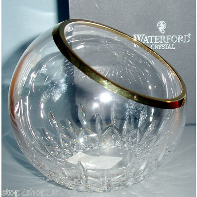 Waterford Crystal Lismore Essence Golden Rose Bowl Angled Top 163799 New in Box