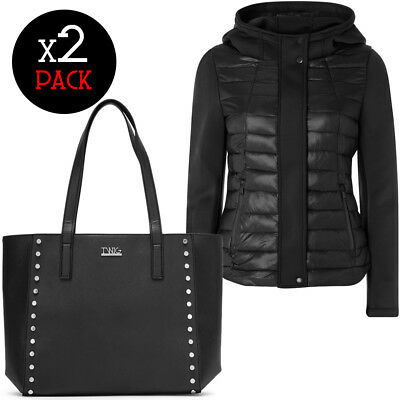 Winter Look TWIG & ARTIKA piumino + borsa donna borchie shopping bag giacca