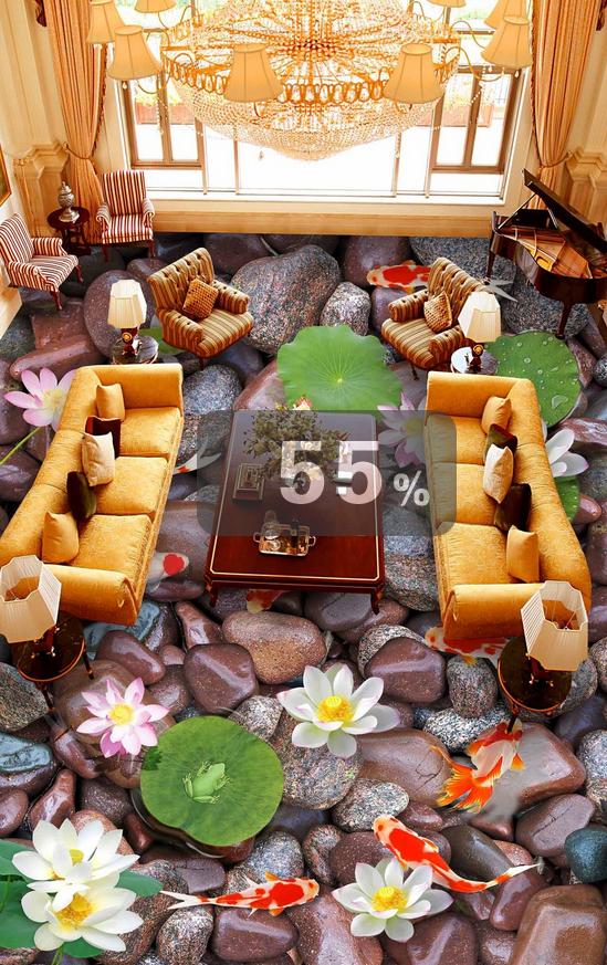 3D braun Stone Fish 703 Floor WallPaper Murals Wall Print Decal AJ WALLPAPER US
