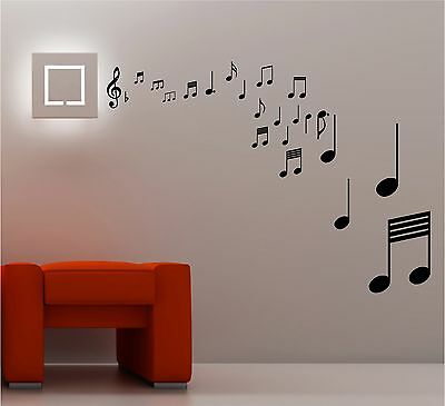 STUNNING MUSICAL NOTES wall art quote sticker vinyl MUSIC LOUNGE ...