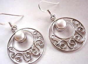 Natural-Pearl-Filigree-Round-925-Sterling-Silver-Dangle-Earrings-New