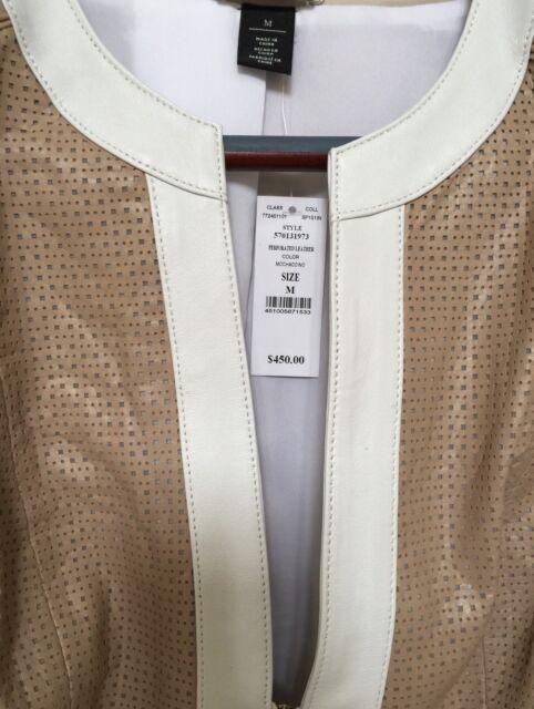 $450.00 White House Black Market Size M 3/4 Sleeve Leather Perforated Jacket
