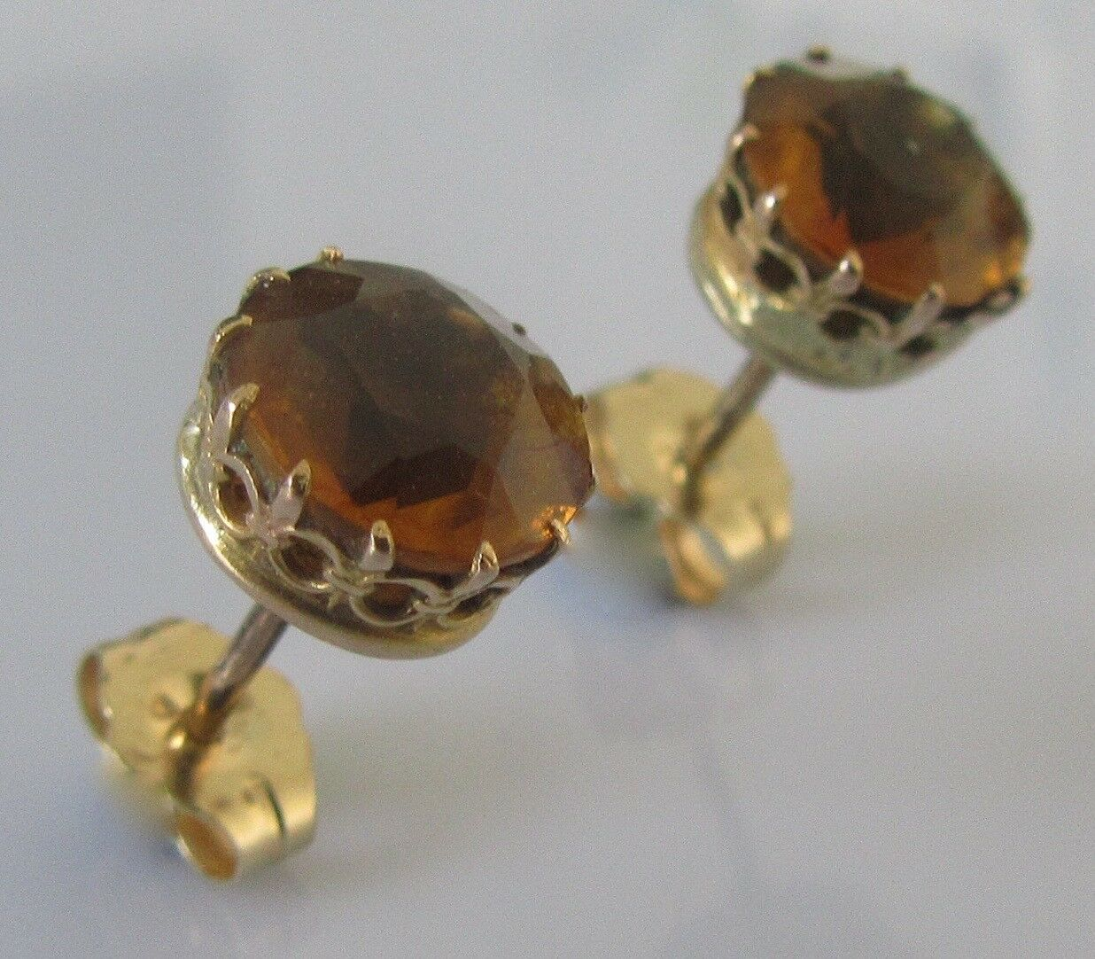 19e3d5c6de5c3 round gold yellow 9ct Secondhand citrine for ears pierced earrings ...