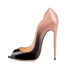 New Women Nude to Black Peep Toe Stiletto High Heels Open Toe Pumps US Size 5-15