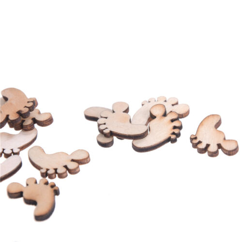 50x Wooden Baby Feet shapes Laser Cut Blank Embellishments Diy Craft 21mm FT