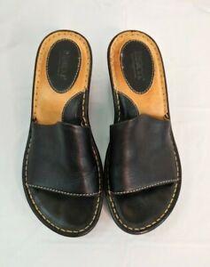 Born-Womens-Open-Toe-Wedge-Mules-Sz-7-Black-Sandal-Heels-Slides-Leather-EU-38