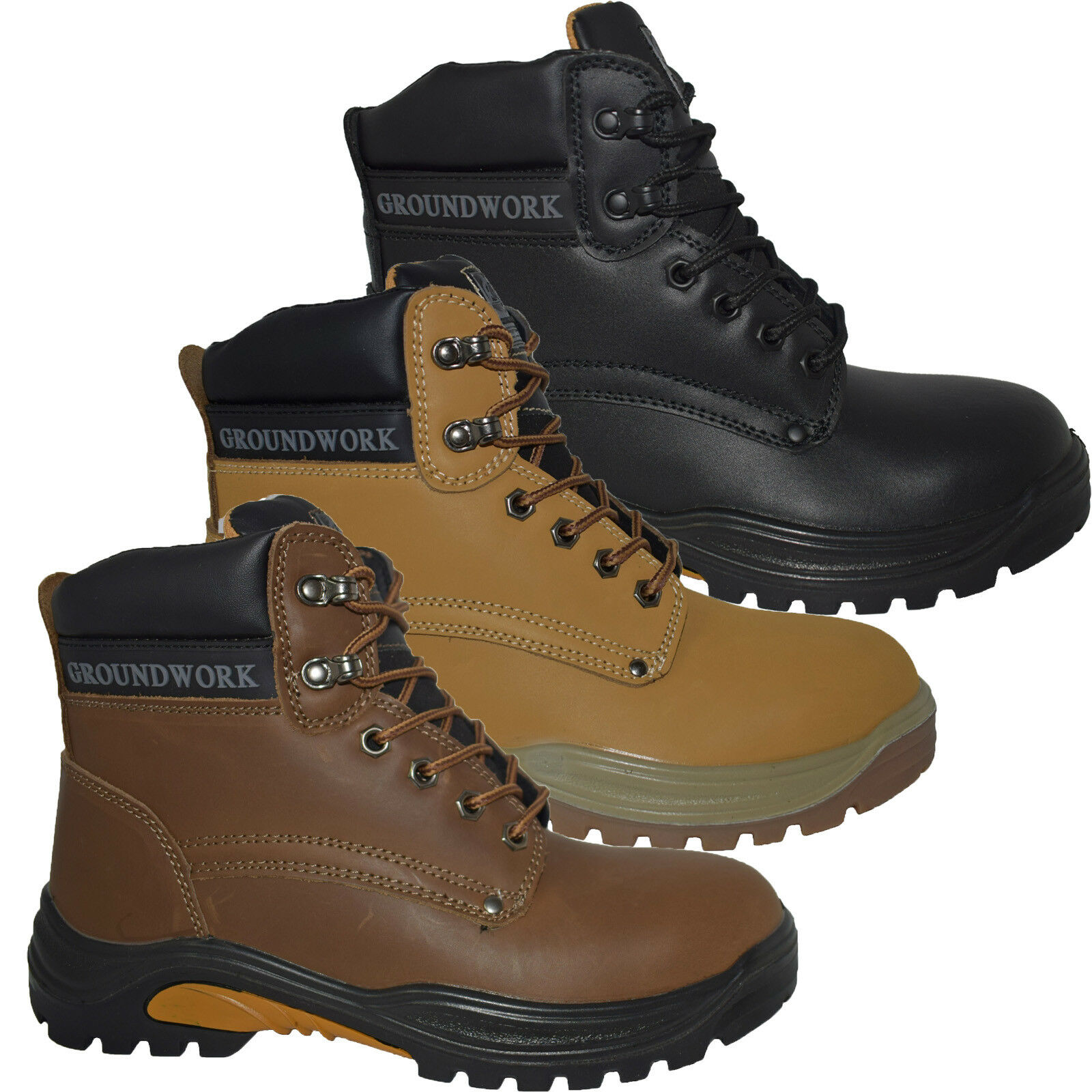 MENS GROUNDWORK SAFETY LACE UP BOOTS TRAINER STEEL TOE CAP ANKLE WORK HIKER SHOE