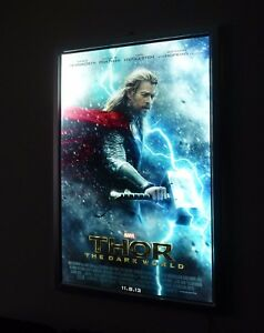 led illuminated backlit poster light box backlit movie poster frame silver 27x40 ebay. Black Bedroom Furniture Sets. Home Design Ideas