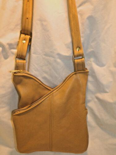 HAND MADE in USA Genuine LEATHER PURSE BAG POCKETBOOk SHOULDER BAG 3 sections