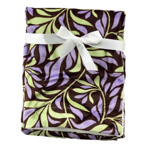 Green /& Purple Leaves Mink Sherpa Fleece Baby Crib Pram Moses Blanket 75 x 100cm