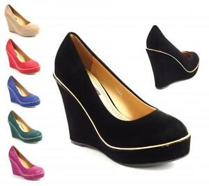 WOMENS-LADIES-HIGH-HEEL-WEDGE-PLATFORM-STYLE-FULL-TOE-SHOES-SHOE-COLOURS-SIZE