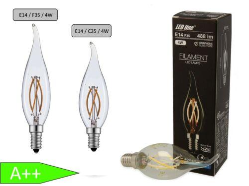 LED Filament Leuchtmittel Kerze 4W = 40W E14 Flamme Birne Lampe Leuchte