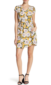 DR2 Cap Sleeve Mini Dress. Mustard, Floral, Double Wrap. Size S. Orig  NWT