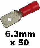 Pkt 50 Auto Cable Conectores 50 Rojo macho Spade terminales de crimpeado 6.3 mm hoja