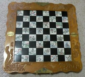 Vintage Hand Carved Wood Folding Chess Board With Chinese