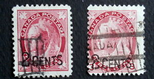 CANADA - Queen Victoria :1899, Used Surcharged, Scott #87-88
