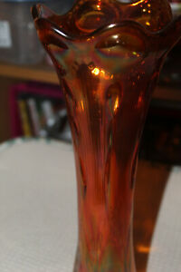 Vintage Carnival Glass Vase Amber ribbed and twisted
