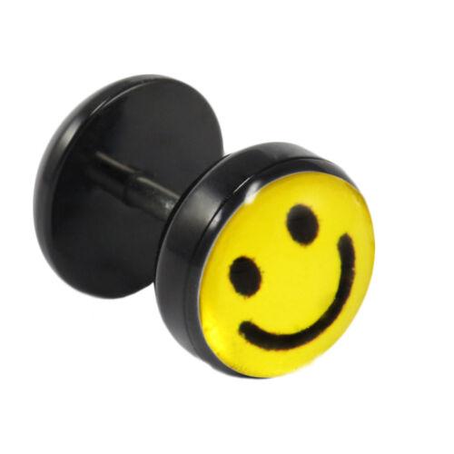 1 Fake Plug Ohrstecker mit Smiley-Motiv Fake Piercing Ohrring Lachendes Gesicht