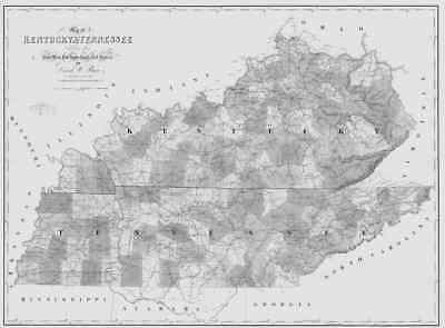 1839 TN MAP FENTRESS FRANKLIN GIBSON GILES GRAINGER COUNTY Tennessee History BIG