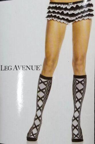 Women Leg Avenue Acrylic Knee Highs W Faux Lace Up Front Sock One SZ Black White