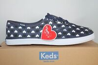 Womens Keds Champion Taylor Swift Hearts Canvas Casual Shoes Oxfords Navy Blue