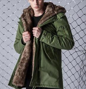 Warm Mens Fur Lined Military Jackest Hooded Trench Long Coat Parka ...