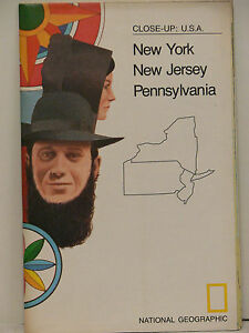 Vintage 1977 National Geographic Map of  New York New Jersey Pennsylvania