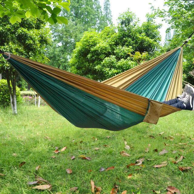 Sleeping Bags Camping & Hiking Portable Parachute Nylon Fabric Two Persons Hammock Hanging Sleeping Bed Parachute Nylon Fabric Outdoor Camping Hammocks