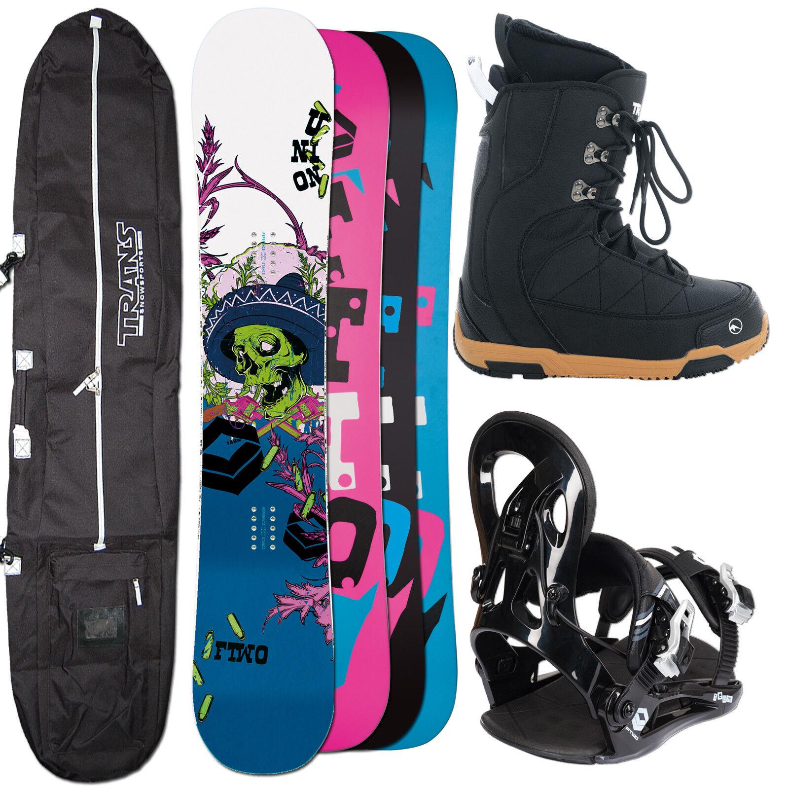 Hombres Snowboard Set Ftwo Unión 157cm Ancho + Fastec Fijación XL + botas +