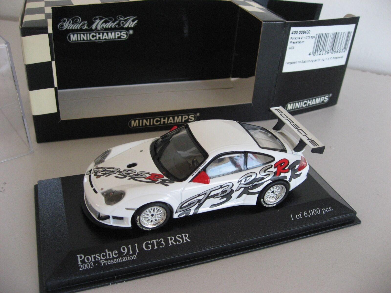 promociones de equipo 2003 Porsche Porsche Porsche 996 911 GT3 RSR 1 de sólo 6,000 1 43 Minichamps presentación coche  connotación de lujo discreta