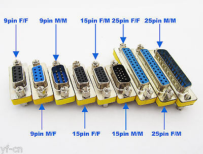 5Pcs Serial RS232 9Pin DB9 Male to Male Gender Changer Adapter Converter