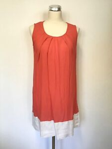 JOULES-CORAL-amp-WHITE-SCOOP-NECK-SLEEVELESS-TUNIC-TOP-SIZE-12
