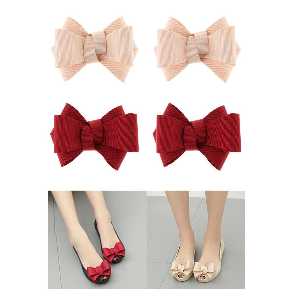 4 Pieces Plain Bow Shoe Clips Ladies DIY Party Shoe Charms Buckle Ornament