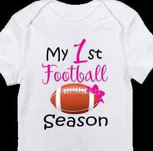 Pink 1st Football Season Onesie Cute Baby Girl Clothes Newborn