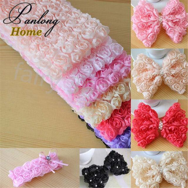 1 Yard 6 Row 3D Chiffon Rose Flower Lace Trim Fabric Wedding Bridal DIY Sewing