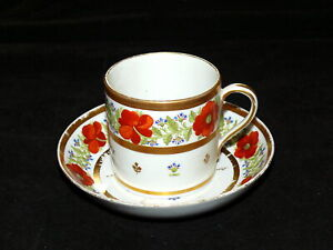 Antique-English-Porcelain-Coffee-Can-Cup-Saucer-Poppy-Thistle-Impressed-W