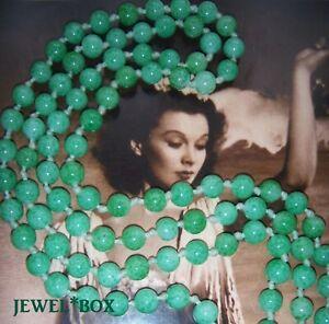 ANTIQUE-ART-DECO-CZECH-BOHEMIAN-PEKING-JADE-GLASS-Vintage-FLAPPER-55-034-NECKLACE