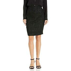 MSRP $89 Calvin Klein Women's Metallic Novelty Skirt Black Size 6