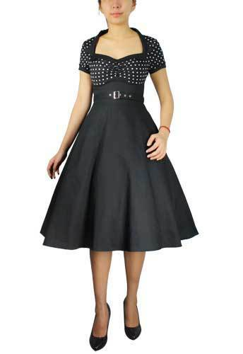 Anni Bianco Flare Con 50 Nero A Dress Pois Cintura Reale Vintage Rétro Stile wUrwzqxtp